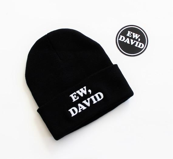 3d01227be Ew David Black Knit Embroidered Beanie and Sticker Set // Schitt's Creek  inspired