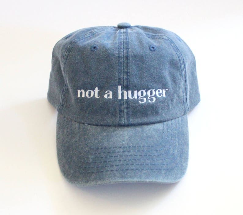 SALE    Not a Hugger Distressed Embroidered Dad hat    cotton  fedd0930b31c