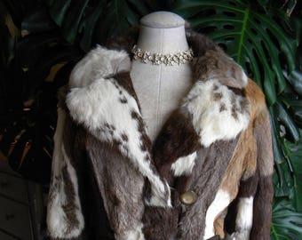 Striking patchwork long rabbit fur coat / stroller / real fur / lapin / women's fur coat / vintage fur coat / multi colored fur coat