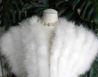 Pretty cream Marabou feather vest / shrug / coat / wedding / cream feather / bolero / bridal cape / cover