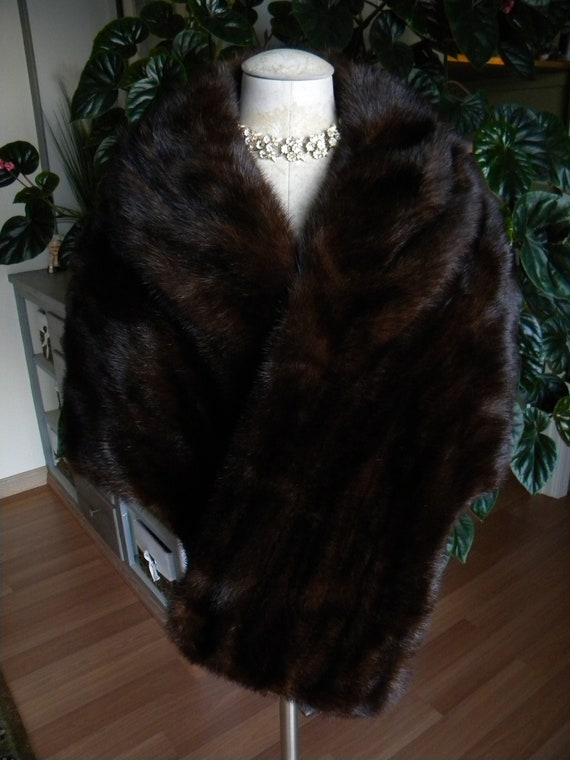 Dark Brown Beauty  Mink Fur Stole / Wrap / Cape /