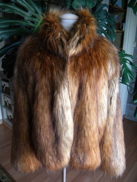 Awesome Shaggy Faux Fox Fur Coat / Jacket / Red /