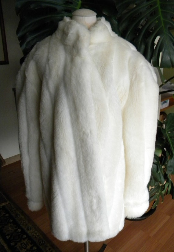 Winter white faux fur coat / jacket / plus size /