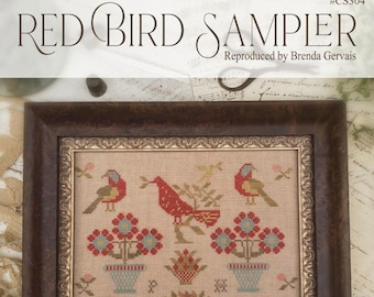 Ships Wk. of 10/24! New! WITH THY NEEDLE Red Bird Sampler counted cross stitch patterns at thecottageneedle.com