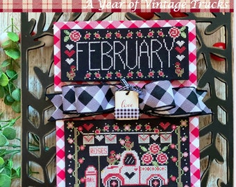 STITCHING WITH the HOUSEWIVES February Truckin' Along counted cross stitch patterns at thecottageneedle.com