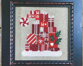 New! BENT CREEK Santa's Hat of Holly Kit counted cross stitch patterns at thecottageneedle.com