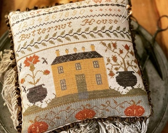 New! STACY NASH Butternut House Pinkeep counted cross stitch patterns at thecottageneedle.com