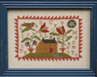 WITH THY NEEDLE My Hearth and Home sampler cross stitch pattern at cottageneedle.com Spring prim