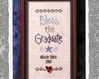 LIZZIE*KATE Bless the Graduate counted cross stitch patterns at thecottageneedle.com S27 Snippet graduation May June college high school