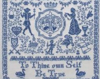 PAPILLON CREATiONS Bard of Avon counted cross stitch patterns at thecottageneedle.com monochromatic William Shakespeare Stratford-upon-Avon