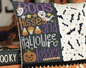 New! PRIMROSE COTTAGE STITCHES Halloween Kisses counted cross stitch patterns at thecottageneedle.com