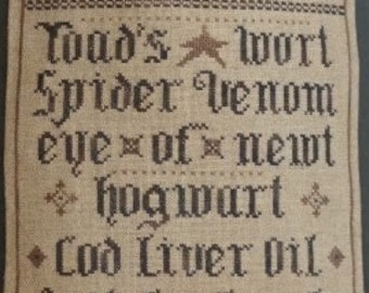 New! LA-D-DA Pocket For Potions counted cross stitch patterns at cottageneedle.com October Halloween