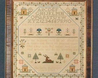 ERICA MICHAELS Charlotte Mullenger counted cross stitch patterns at thecottageneedle.com   reproduction sampler