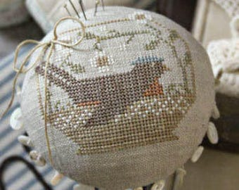 A Tisket A Tasket counted cross stitch patterns by With Thy Needle at thecottageneedle.com Robin bird Easter Spring pincushion round