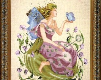 COMING SOON! MIRABILiA Butterfly Fairy counted cross stitch patterns INCLUDES embellishments at thecottageneedle.com garden Mother's Day
