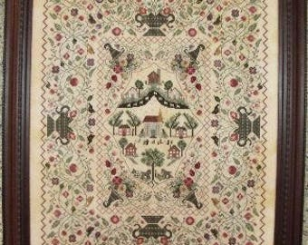 ROSEWOOD MANOR Inspiration counted cross stitch patterns at thecottageneedle.com Basket of Flowers