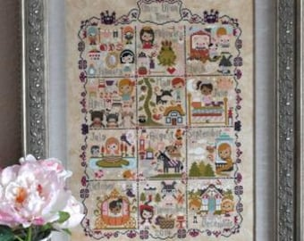 FROSTED PUMPKIN STITCHERY Once Upon A Time Sampler cross stitch patterns classic stories thecottageneedle.com