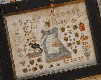 WITH THY NEEDLE Queen of Harvest counted cross stitch patterns at thecottageneedle.com Autumn Fall pumpkins acorns