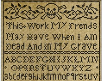 New! PDF DOWNLOAD When I Am Dead And In My Grave digital counted cross stitch patterns by Modern Folk Embroidery at thecottageneedle.com