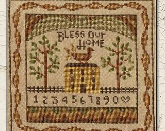 TERESA KOGUT Bless Our Home counted cross stitch patterns at thecottageneedle.com folk art sampler angel quaker