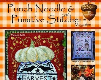Punch Needle & Primitive Stitcher Autumn 2020 issue magazine cross stitch and punch needle patterns at thecottageneedle.com