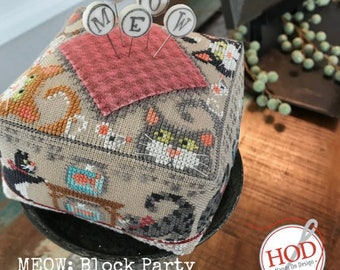 HANDS ON DESiGN Meow Block Party counted cross stitch patterns at thecottageneedle.com