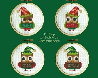 PDF Download PINOY STITCHES Hooties Christmas Elves digital counted cross stitch patterns at thecottageneedle.com