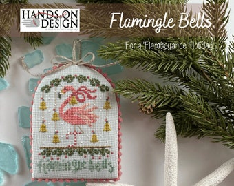 HANDS ON DESiGN Flamingle Bells counted cross stitch patterns at thecottageneedle.com Flamingo
