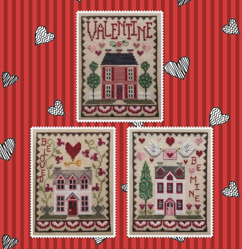 New INSTANT DOWNLOaD WAXiNG MOON DESiGNS Valentine House Trio image 0