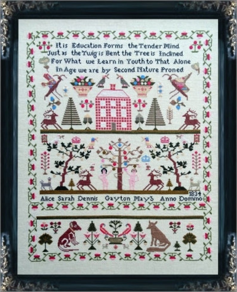 MILL ON THe FLOsS SAMPLeRS Alice Sarah Dennis 1834 Norfolk image 0
