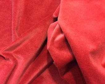 """HEIRLOOM hand-dyed Velveteen 100% Cotton approx. 18"""" x 10"""" Fat 1/8th Lady Dot Creates Finishing fabric red"""