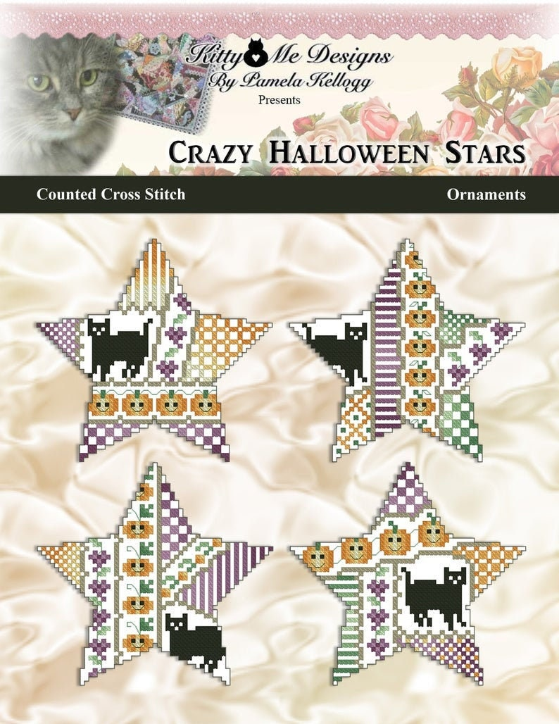 PDF DOWNLOAD Crazy Halloween Stars Ornaments digital counted image 0
