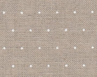 WHITE MiNI-POLKA DoTS ON NATURaL 28 ct. Linen counted cross stitch fabric at thecottageneedle.com Zwiegart hand embroidery needlework