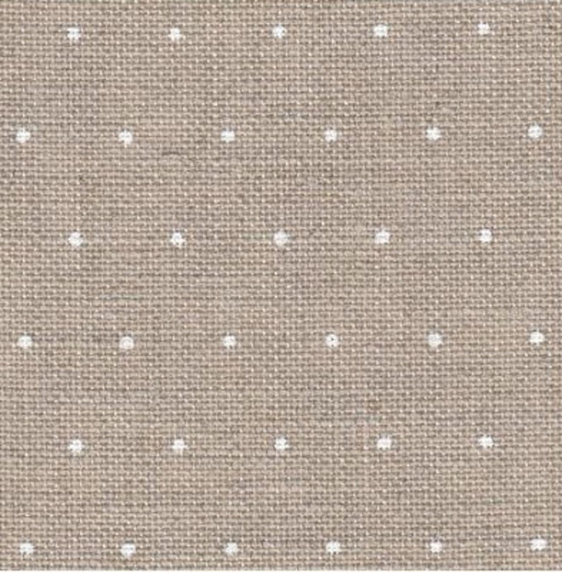 WHITE MiNI-POLKA DoTS ON NATURaL 28 ct. Linen counted cross image 0