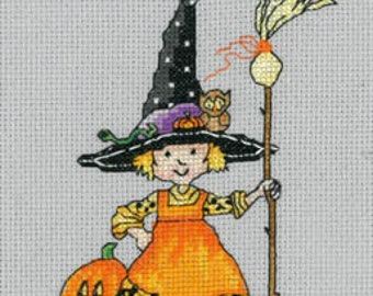 IMAGINATING Teeny Witch counted cross stitch patterns at thecottageneedle.com Mary Engelbreit