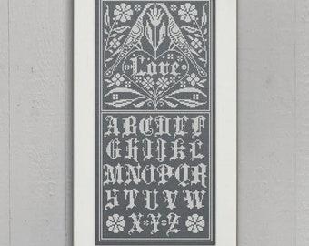 PDF DOWNLOAD Fraktur Love Sampler digital counted cross stitch patterns by Modern Folk at thecottageneedle.com