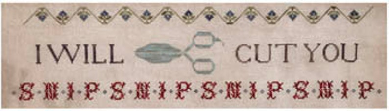 NEW LUCY BEAM I Will Cut You cross stitch patterns at image 0