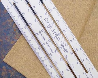 "cross stitch gauge : 8""-10"" ruler 11 14 16 18 22 25 26 28 30 32 36 40 count hand embroidery"