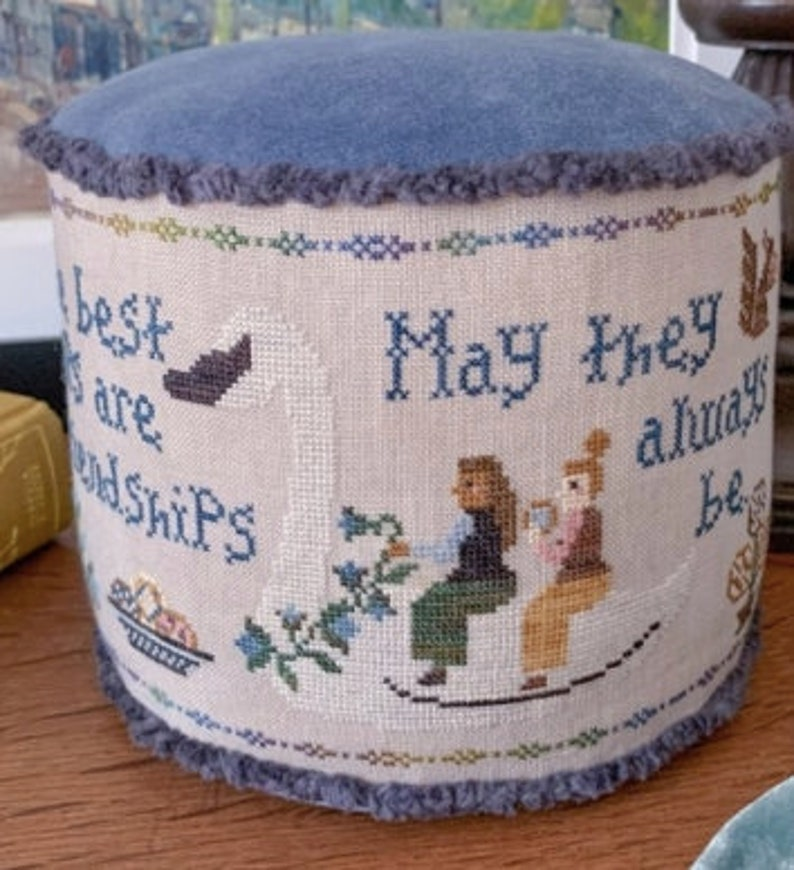 New BENDY STiTCHY and BLUE FLOWER Friendship Sampler counted image 0