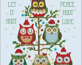 PDF Download PINOY STITCHES Customizable Hooties Christmas Tree digital counted cross stitch patterns at thecottageneedle.com