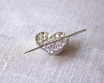 FREE US SHIPPING Crystal Heart Needle Minder : Valentine's Day love February magnetized needle holder cross stitch embroidery sewing