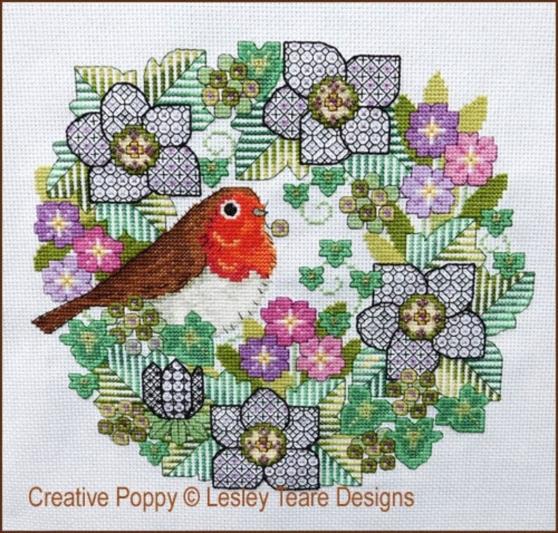 NEW LESLEY TEARE Blackwork Flowers with Robin counted cross image 0
