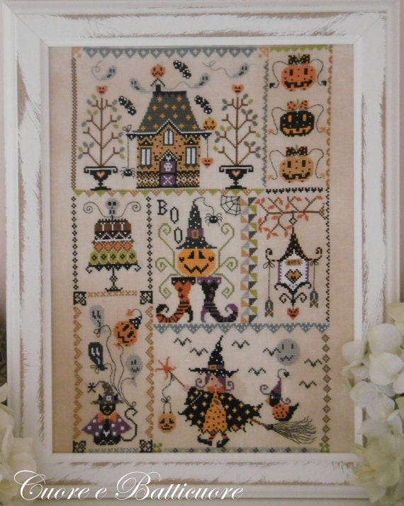 Halloween in Quilt 10/% Off Cuore e Batticuore Counted X-stitch Chart