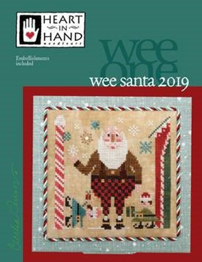 NEW HEART iN HAND Wee Santa 2019 Includes embellishment cross image 0
