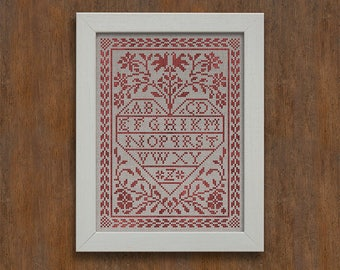 PDF DOWNLOAD Love Letters digital counted cross stitch patterns by Modern Folk at thecottageneedle.com monochromatic Valentine's Day