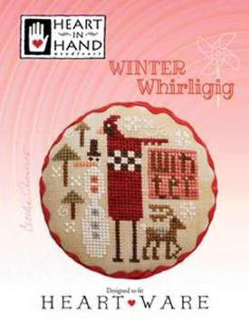 NEW HEART in HAND Winter Whirligig counted cross stitch image 0