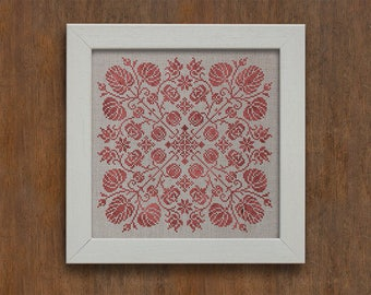 PDF DOWNLOAD Spring Blossoms digital counted cross stitch patterns by Modern Folk at thecottageneedle.com monochromatic Spring