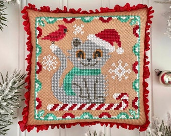 Ships Wk. of 10/31! New! LUMINOUS FIBER ARTS Catty-Cane counted cross stitch patterns at thecottageneedle.com