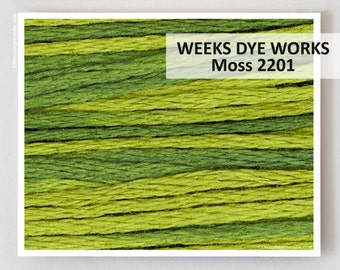 MOSS 2201 Hand-dyed Embroidery Floss Weeks Dye Works 6-strand WDW hand over dyed overdyed thread cross stitch needlepoint