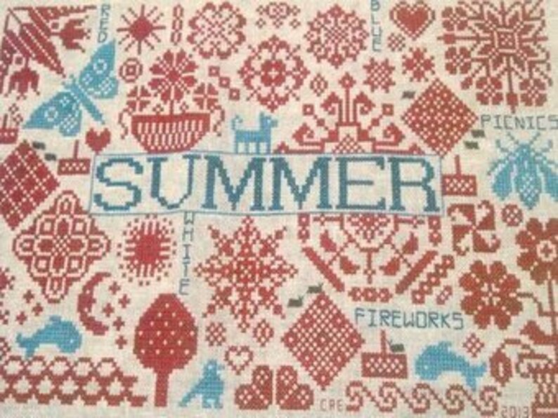 REMEMBERING BYGONE STITCHES Quaker Seasons Summer counted image 0